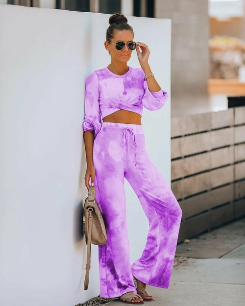 Women Tie-dye Printed Crop Top and Wide-leg Pants Two-piece - One Stop Quik Shop