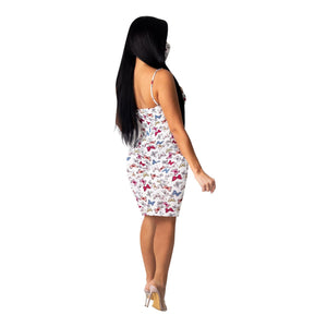 Butterfly Printed Slip Dress with Mask - One Stop Quik Shop