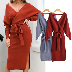 Women Autumn Wrap Knitted Bodycon Dress - One Stop Quik Shop