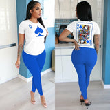 Women Poker Design Tops and Long Pants Two-piece Set - One Stop Quik Shop