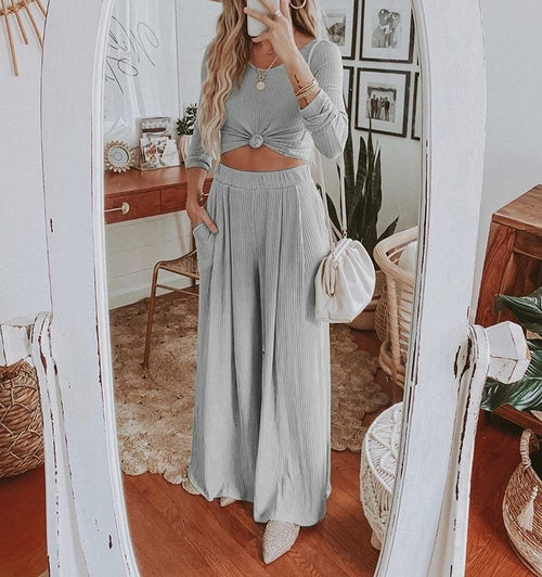 Women's O-neck Long Sleeve Slim Crop Top and Wide-leg Pants - One Stop Quik Shop