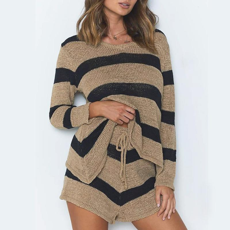 Women Loose Knitted Striped Top and Shorts Two-piece Set - One Stop Quik Shop