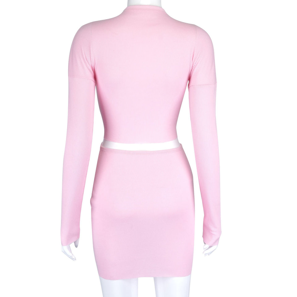 Women's Double Zipper Pink Color Crop Top and Mini Skirt Two-piece Set - One Stop Quik Shop