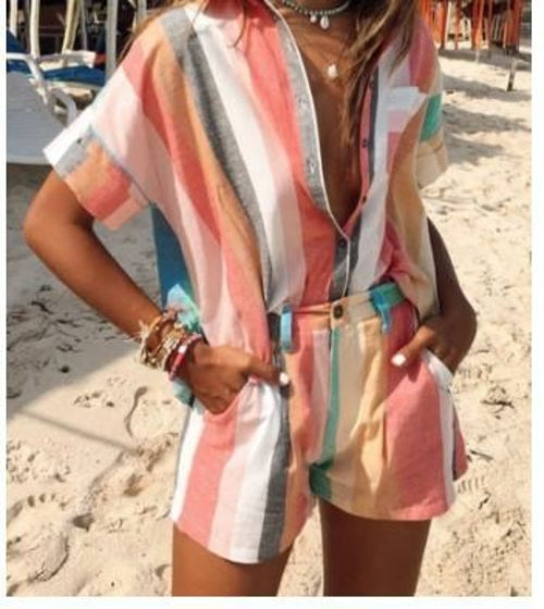Women Fashion Striped Shirt and Shorts Two-piece Set - One Stop Quik Shop