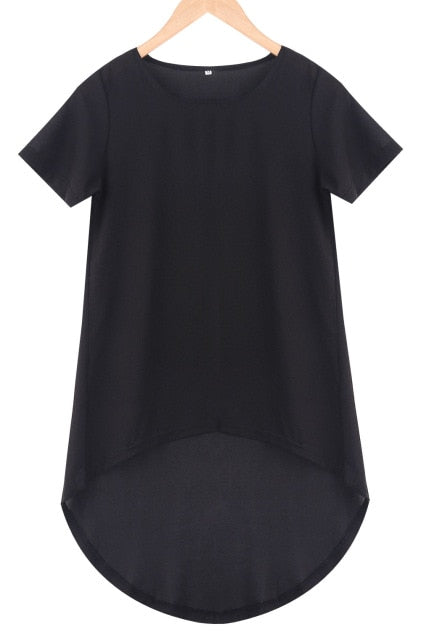 Maxi Tail Loose Short Sleeve Casual Black Tee Plus Size - One Stop Quik Shop