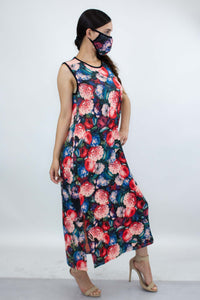 Women Bold Floral Print Long Dress and Matching Face Mask - One Stop Quik Shop