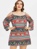 Plus Size Open Shoulder Ethnic Mini Dress - One Stop Quik Shop