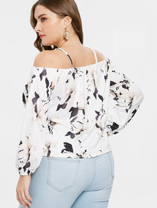Women's Plus Size Long Sleeve Flower T-shirt - One Stop Quik Shop