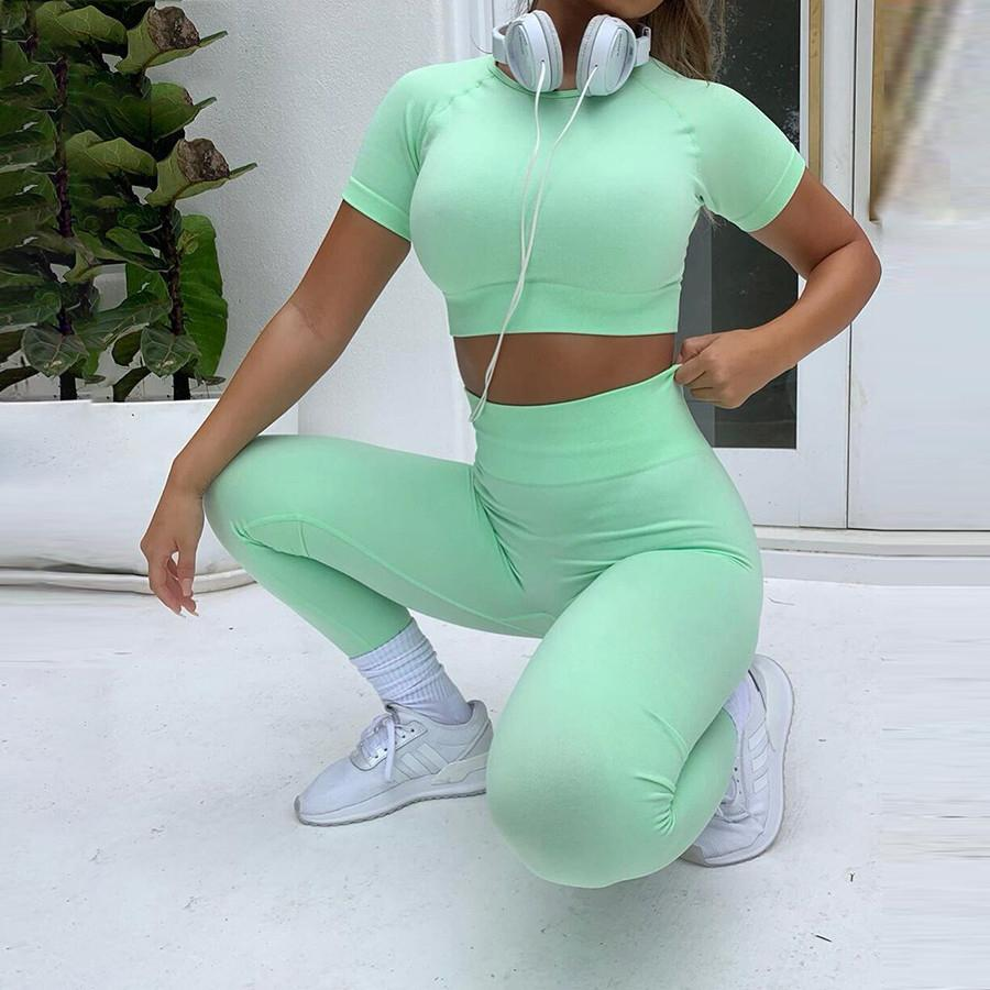 Sporty Tracksuit Women Casual Solid Short Sleeve Crop Top+leggings - One Stop Quik Shop