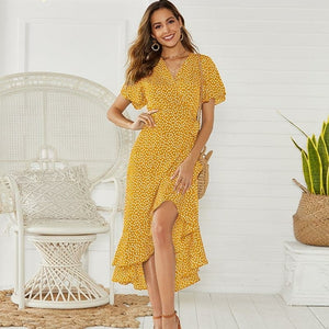 V-neck irregular high-rise lace-up chiffon print dress - One Stop Quik Shop