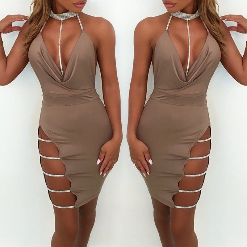 Women Halter Style Loose Deep V Neck Dress - One Stop Quik Shop