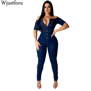 Women's Fashion Denim Jumpsuit Wide Leg Spaghetti Strap Bodycon - One Stop Quik Shop
