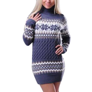 Winter Warm Christmas Sweaters Women New Year FashionTurtleneck Knitted Sweater dress Pullovers Bodycon Long Knitwear clothes - One Stop Quik Shop