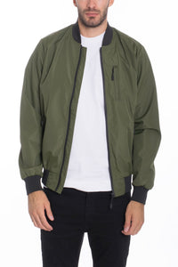 MEN  VINYL JACKET- OLIVE - One Stop Quik Shop