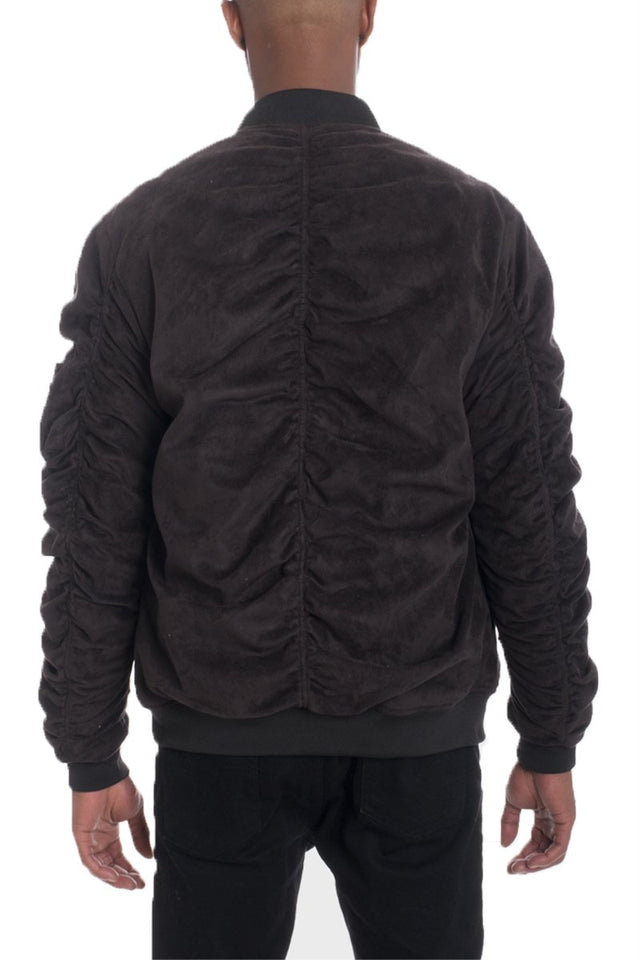 FAUX SUEDE BOMBER- BLACK - One Stop Quik Shop