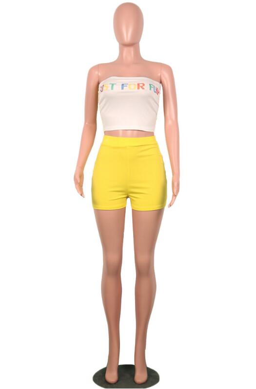 Women's Sexy Crop Top And Shorts Two Piece Set - One Stop Quik Shop