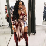 Women's Sexy Striped Shirt Dress With Sashes Side High Slit - One Stop Quik Shop