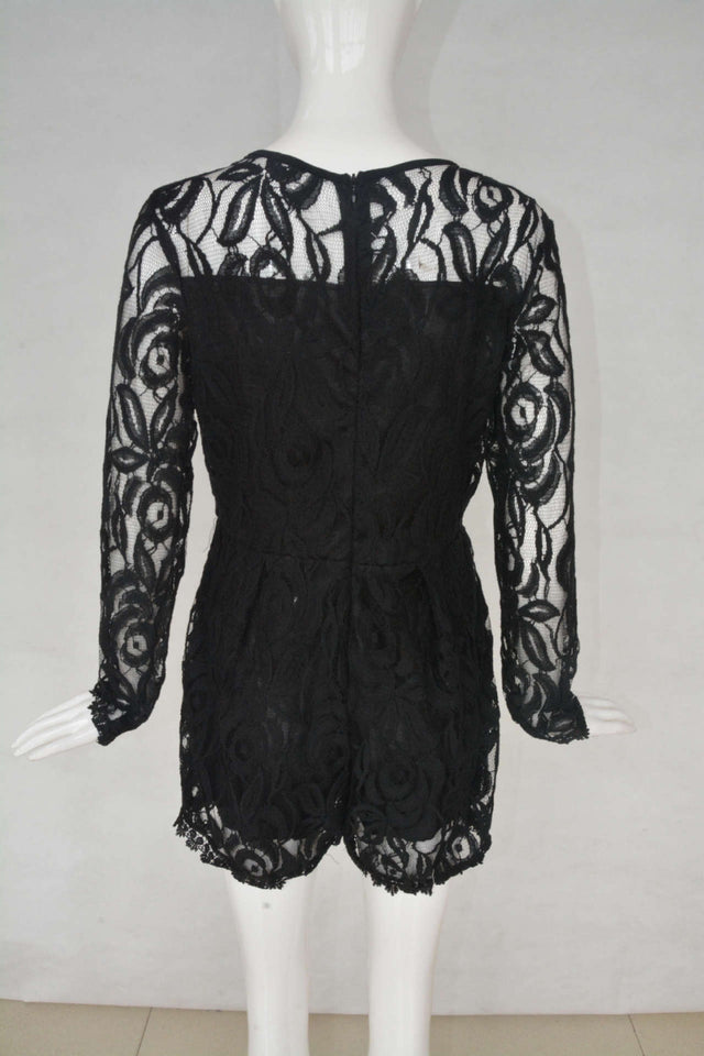 Women's Solid Color Hollow Out Long Sleeve Lace Romper - One Stop Quik Shop