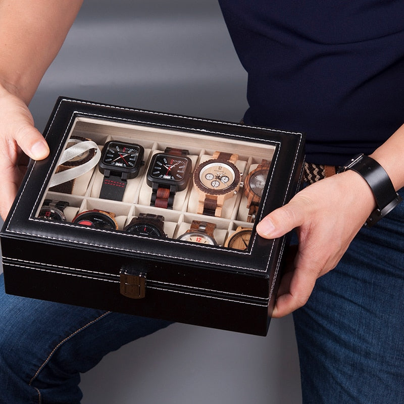 Watches Display Box Organizer Storage Box Leatherette Wrist Watch Holder Jewelry Display Case - One Stop Quik Shop