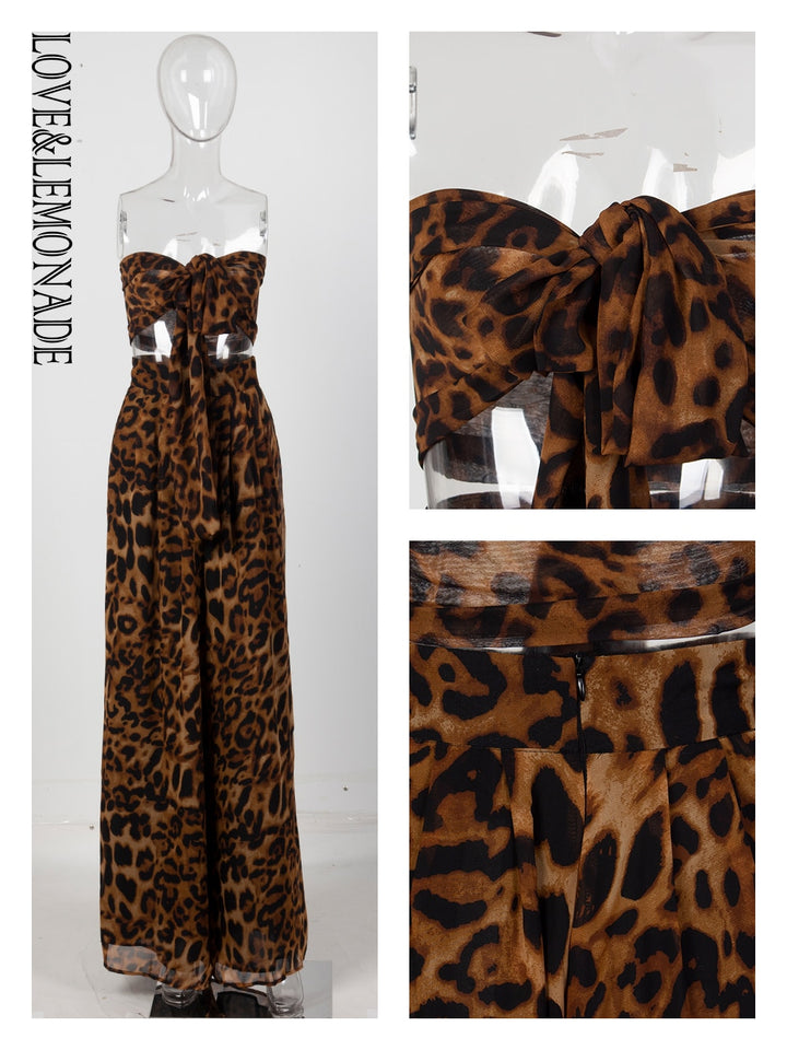 Women's Lemonade Sexy Two-Pieces Leopard Chiffon High Waist Rompers - One Stop Quik Shop