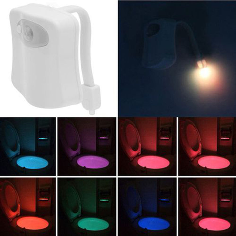 8 Colors Change Motion Activated Home Toilet Bowl Bathroom LED Night Light Lamp - One Stop Quik Shop
