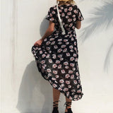 Women's Short Sleeve Floral Print Split V Neck Long Dress - One Stop Quik Shop
