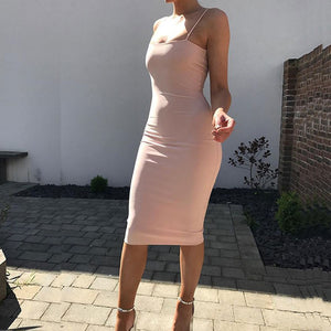 Women 2 Layered Bodycon Midi White Basic Tube Long Slip Dress - One Stop Quik Shop