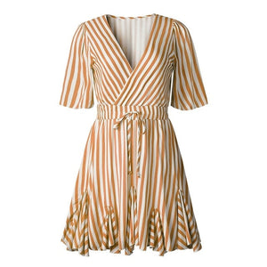 Women's Vintage Striped V Neck Ruffle Cotton Short Summer Dress - One Stop Quik Shop