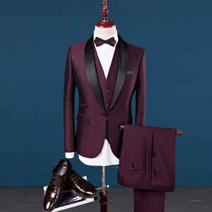 Men Shawl Collar 3 Pieces Slim Fit Burgundy Suit - One Stop Quik Shop