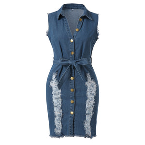Women's Button Down Denim Lace Jeans Long Shirt Dress - One Stop Quik Shop