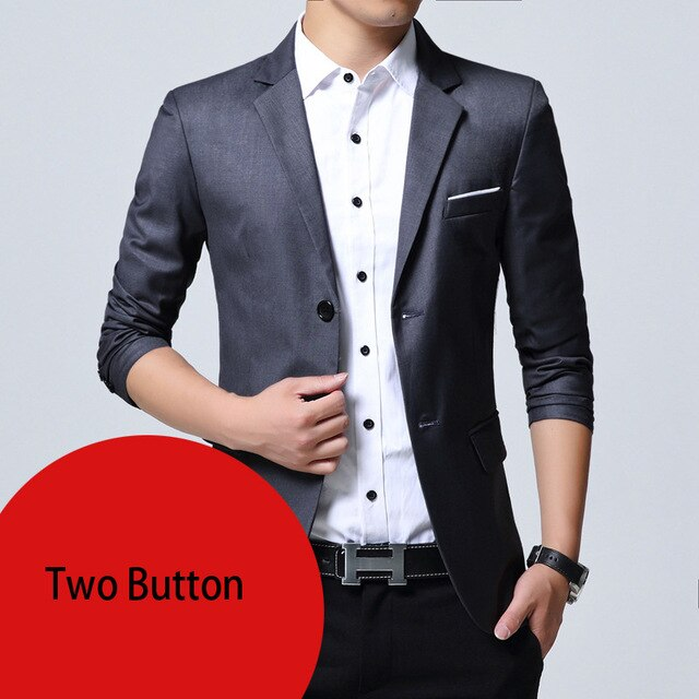 Mens Slim Fit Elegant Blazer Jacket Brand Single Breasted Two Button Party Formal Business Dress Suit - One Stop Quik Shop