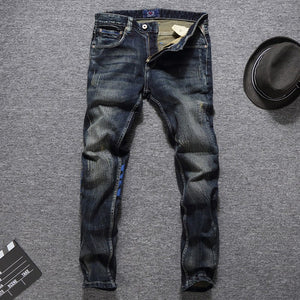 Men Jeans High Quality Slim Fit Cotton Denim Long Pants Size 29-38 - One Stop Quik Shop