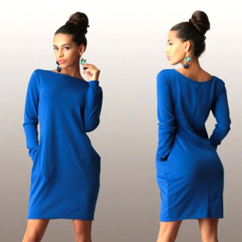 Solid Pockets Casual Loose Autumn Dress Women's O-Neck Long Sleeve Mini Bodycon Dresses vestidos - One Stop Quik Shop