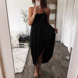 Women Airy Maxi Dress Solid Color Knitting Sleeveless Loose  for Summer Beach Party - One Stop Quik Shop