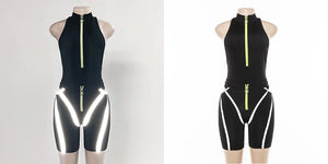 Women's Casual Sporty Two Piece Reflective Striped Zippered Bodysuit - One Stop Quik Shop