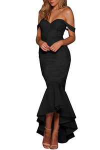 Women Elegant Black Strapless Lace Fishtail Formal Evening Dress - One Stop Quik Shop