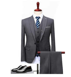 Men 3 Pieces (Jacket+Vest+Pant) Slim Fit Casual Tuxedo Plus Size 4XL - One Stop Quik Shop