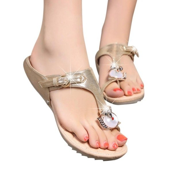 Women Rhinestone Flat Heel Fashion Sandals - One Stop Quik Shop