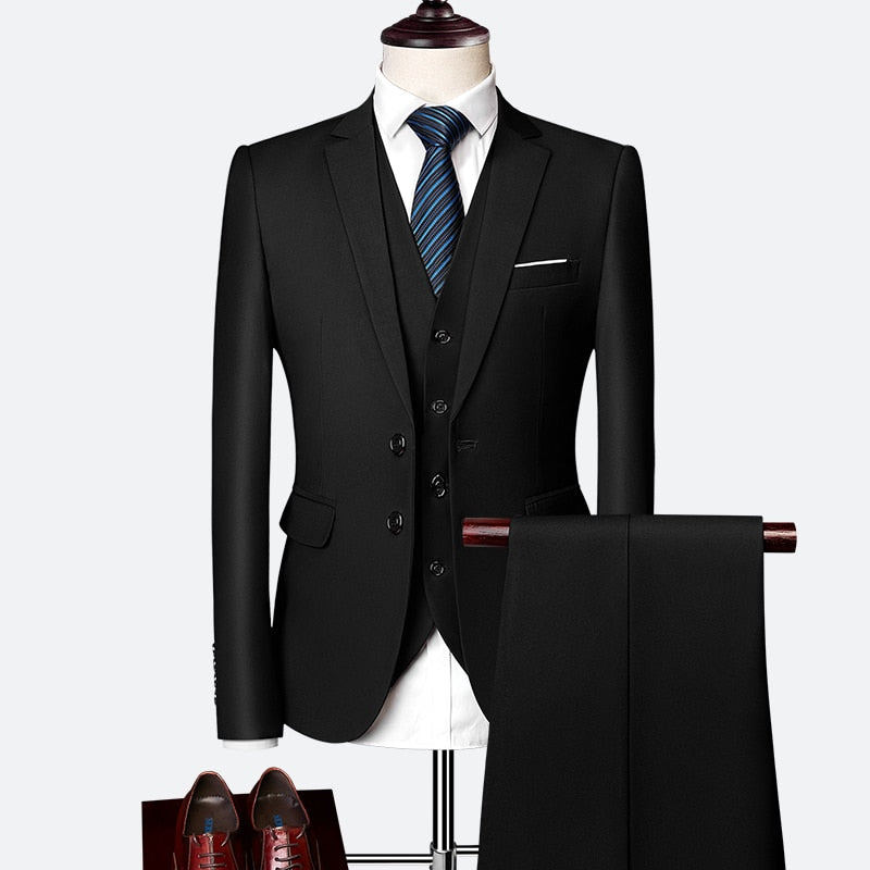 Male 3 Piece Free Tie Suit - One Stop Quik Shop