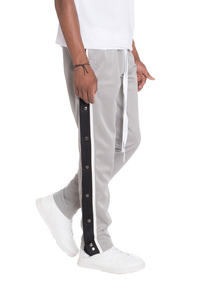 Men's SNAP BUTTON TRACK PANTS- GREY - One Stop Quik Shop