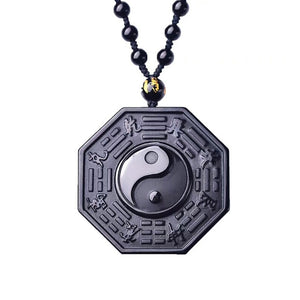 Black Obsidian Yin Yang Pendant With Beads Chain - One Stop Quik Shop