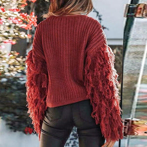 Women Fringe Sleeves Loose Knitted Jumpers Sweater - One Stop Quik Shop