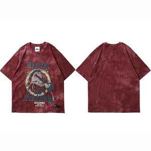 Men Hip Hop Wild Horse Print T-Shirt - One Stop Quik Shop