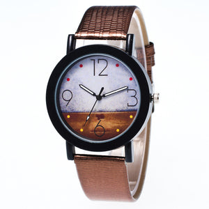 Men Landscape Pattern PU Leather Analog Watch - One Stop Quik Shop