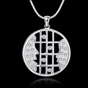 Mother and Daughter Necklace in 18K White Gold Plated with Swarovski - One Stop Quik Shop