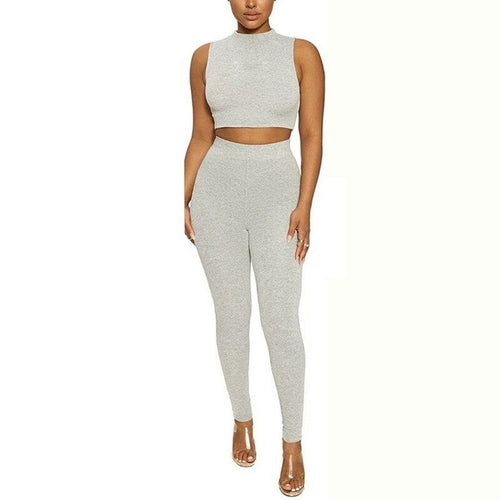 Women's Elastic Sporty Sleeveless Bodycon Tracksuit O Neck 2 pcs - One Stop Quik Shop