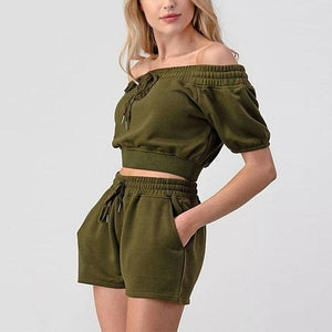 Women Off The Shoulder Crop Top And Shorts Set - One Stop Quik Shop