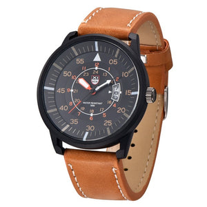 Amazing Men's Leather Stainless Steel Sport Analog - One Stop Quik Shop