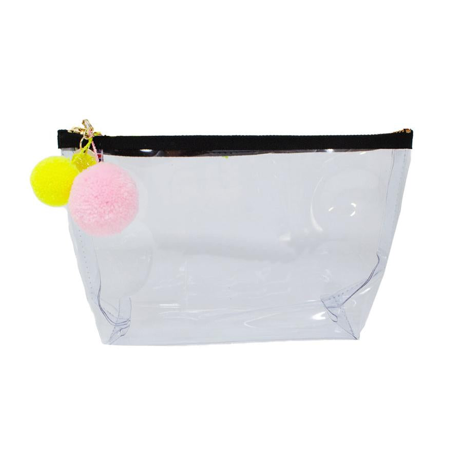 Alicia Medium Clear Make up Bag - White - One Stop Quik Shop