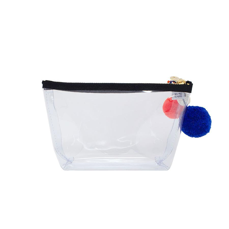 Alicia Small Clear Make up Bag - Black - One Stop Quik Shop